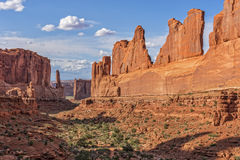 Park Avenue In Arches National Park. Park Avenue Rock Formation During Sunset At Arches National Park In Utah Royalty Free Stock Photos