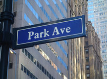 Park Avenue in New York City. A street sign for famous Park Avenue, in New York City royalty free stock image