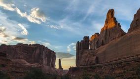 Park Avenue Timelapse - Arches National Park 4k. Beautiful sunset over Park Avenue  Arches National Park Utah stock video