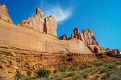 The Park Avenue trail in  Arches National park,USA. The Park Avenue trail in  Arches National park against blue sky Royalty Free Stock Image