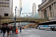 The Park Avenue Viaduct over 42nd Street linking the Pershing Square Plaza to Grand Central Terminal. Royalty Free Stock Photography
