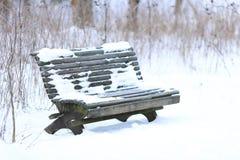 Park-Bank im Winter lizenzfreie stockbilder