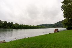 Park on the banks of a river - Tennessee. Park on the banks of a river on a cloudy morning - Tennessee stock images