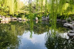 The park of Baotu Quan in Jinan, China. The park of Baotu Quan, also called `the Best Spring in the World` in the heart of Jinan city, Shandong, China Stock Photos