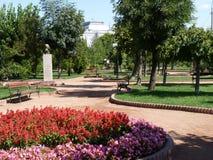 Park in Barlad. Grădina publică din Bârlad, cu bustul sculptorului Marcel Guguianu / Central Garden in Bârlad, with the bust of sculptor Marcel Guguianu Stock Photo