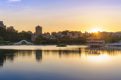 A park with beautiful lake in Taipei Royalty Free Stock Photos