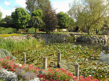 Park with trees and flowers. Park with beautiful trees and flower in Hortulus Gardens, Dobrzyca, Poland Stock Photo
