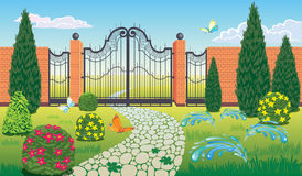 A Park with a beautiful wrought iron gate. Vector landscape Park with the beautiful gate Royalty Free Stock Image