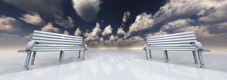 Park bench. High Resolution 3D Illustration Park bench in minimal landscape Stock Images
