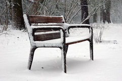Park bench. Empty park bench because it's still snowing Royalty Free Stock Photos