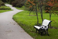 Park bench. On green grass next to road Royalty Free Stock Images