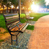 A park bench Stock Photo