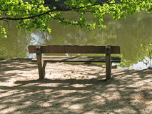 Park bench. Empty park bench, Bramfelder See, Hamburg, Germany Stock Photos