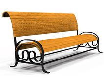 Park bench. Illustration of 3d yellow park bench over white background Royalty Free Stock Photos