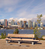 Park Bench. View of a park bench at the new 2010 olympics athletes village in Stock Photo