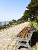A park bench. A bench in a public park on summer Stock Photos