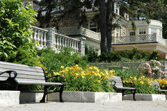 Park Bench. With house in background and lots of lilies royalty free stock image