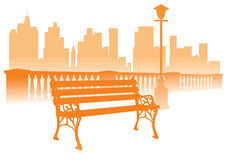 Park bench on the city background. Bench, fence and lantern silhouettes on the city skyline background Stock Photo