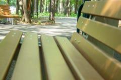 Park bench close-up. stock photos