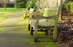Park bench on a cold winters day Royalty Free Stock Images