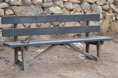 Park Bench - Empty Available Wooden Seat Royalty Free Stock Photography