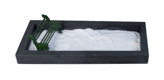 Park Bench in an Enclosed Park Filled with Snow Stock Photos