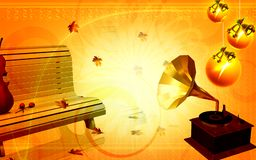 Park bench with gramophone Royalty Free Stock Photos