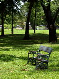 Park bench on green grass Royalty Free Stock Photo