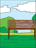 Park and bench hand drawn vector. Hand drawn vector illustration of a park and bench with shrubs, grass and clouds Stock Photo