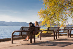 Park Bench by the Lake Royalty Free Stock Photography