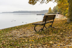 Park bench on lake Chiemsee, Germany Royalty Free Stock Images