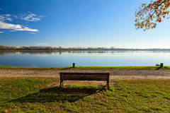 Park bench in the lake Royalty Free Stock Photography