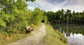 Park bench and lake Royalty Free Stock Image