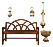 Park bench and lamps Royalty Free Stock Photos