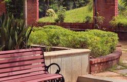 Park bench landscape royalty free stock image