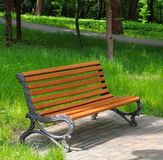 Park, bench and  lawn Stock Photo