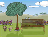 "Park Bench Oasis. Vector art in Illustrator 8. A peaceful park with an inviting bench on a glorious day. All objects on separate layers including the animal "" Stock Photos"