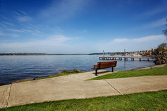 Park bench overlooking Lake Washington Royalty Free Stock Photography