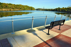 Park Bench Overlooking River Royalty Free Stock Image