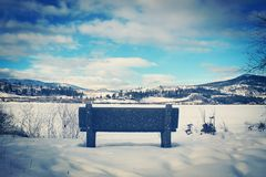 Park bench  overlooking winter landscape Royalty Free Stock Image