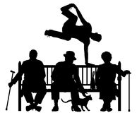 Park bench parkour. Editable vector silhouette of a young man vaulting over three elderly people on a park bench with all elements as separate objects Royalty Free Stock Photography