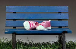 Park Bench Pink Shoes. Royalty Free Stock Photography