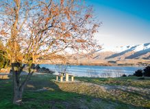 The Park bench at a public park near the lake with snowy mountain background in sunset warm light at South Island, New Zealand. Royalty Free Stock Photos