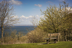 Park bench at rest stop. Image of park bench by rest stop with ocean views Royalty Free Stock Image
