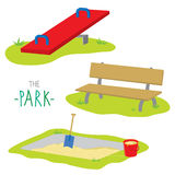 The Park Bench Sandpit Seesaw Activity Kid Relax Play Cartoon Vector Stock Photos
