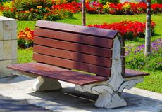 Park Bench Seat, double sided. Royalty Free Stock Photo