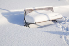 Park Bench in Snow Royalty Free Stock Photography