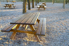 Park bench at sunset Royalty Free Stock Image