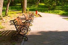 Park bench at sunset. Sunny summer evening Royalty Free Stock Photos