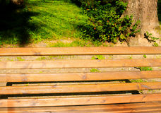 Park bench at sunset. Sunny summer evening Royalty Free Stock Photo